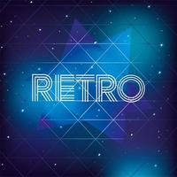 gráfico retrô anos 80 com fundo de estilo neon vetor