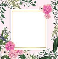 cartão com rosas tropicais e flores com ramos de folhas