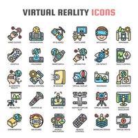 Ícones de linha fina de realidade virtual vetor