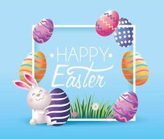 quadro com decoração de ovos de páscoa e coelho