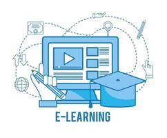 estudo online de computador com chapéu de formatura