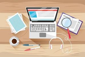 educação a distância com documentos e tecnologia para laptop vetor