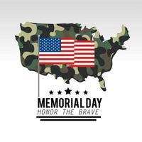 Bandeira dos EUA com mapa de camuflagem militar vetor