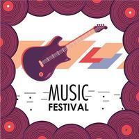 instrumento de guitarra elétrica para celebração do festival de música vetor
