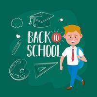 menino estudante de volta à escola