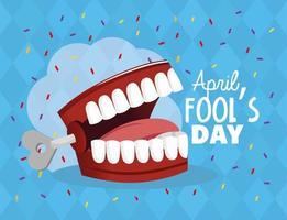 dentes loucos para celebração do dia dos tolos