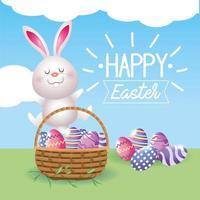 decoração feliz coelho e ovos com cesta vetor