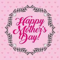 cartão de dia das mães com padrão de coração rosa e guirlanda floral vetor