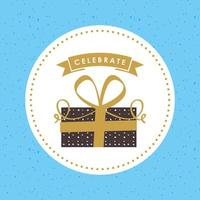 cartão de feliz aniversário com presente e comemorar banner vetor