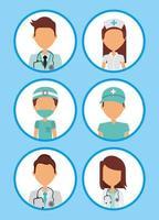 conjunto de avatar profissional de cuidados de saúde médicos