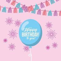 cartão de feliz aniversário com balão, flâmula e fogos de artifício