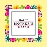cartão de dia das mães com decorações de caixa e flor de texto vetor
