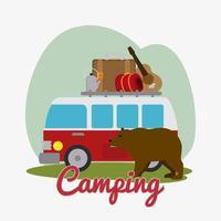 Design de acampamento e urso