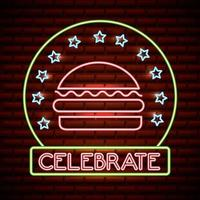sinal de néon de hambúrguer com comemorar texto e estrelas vetor