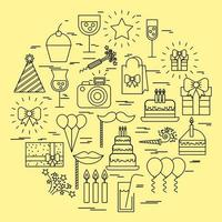 coleção de ícone de aniversário e festa