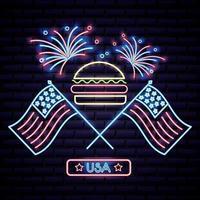 hambúrguer do dia da independência americana com duas bandeiras dos EUA e fogos de artifício vetor