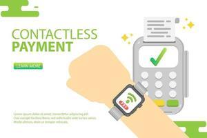 Relógio inteligente usando pagamento sem contato. Pagar conceito on-line