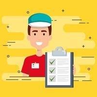 Trabalhador de entrega com lista de verificação vetor