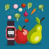Smartwatch com ícones de estilo de vida saudável