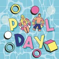 cima e para baixo, vista homem e mulher flutuando na piscina com texto de dia de piscina