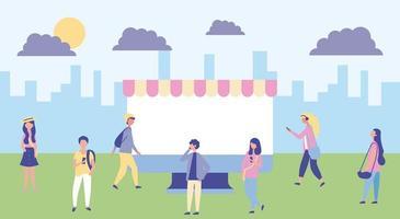 Atividade ao ar livre no parque de filmes