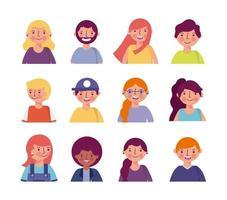 pessoas sorrindo conjunto de avatar