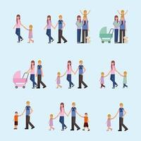 cartão de casal familiar vetor
