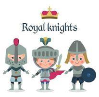 Personagens de desenhos animados de contos de fadas. Cavaleiros de fantasia meninos. vetor