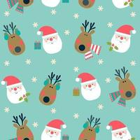 Padrão sem emenda de Natal com cabeças de Papai Noel e veado. vetor