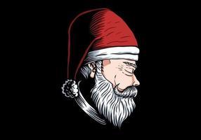 Rosto de Papai Noel em posição lateral vetor