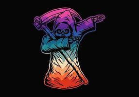 crânio de morte dabbing colorido vetor