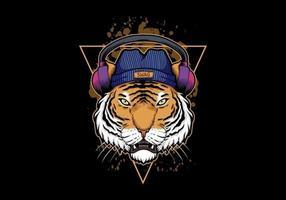 Ilustração de fone de ouvido tigre vetor