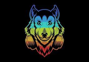 Lobo colorido usando fones de ouvido