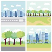 edifícios de banners de parque e cidade