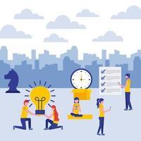 empresários com relógio bulbo celular peça de xadrez