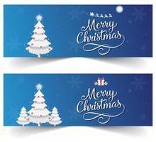 Banner de Natal azul com flocos de neve, presentes e trenó do Papai Noel vetor