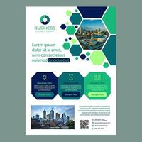 Brochura de negócios modernos do hexágono verde vetor