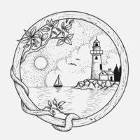 Moldura de madeira circular com farol e oceano cena vetor