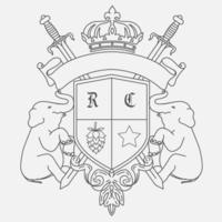 Design de brasão de armas com dois elefantes vetor