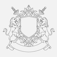 Design de escudo do brasão de armas com dois leões e espadas vetor