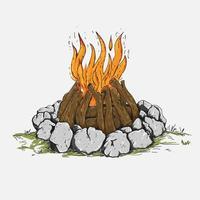 Esboço de vetor desenhado mão Campfire