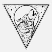 Lobo da lua cheia em ponto de triângulo de cabeça para baixo e arte de linha vetor