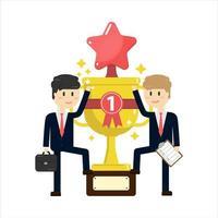 Dois homens de negócios em pé no grande troféu vetor