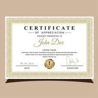 Certificado de Apreciação Golden Frame vetor