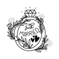 Doodle bonito anel com letras recém casados e folhas com flores vetor