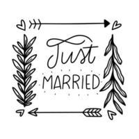Seta bonita, folhas e corações com letras sobre casamento vetor