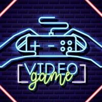 sinal de jogos de vídeo neon vetor