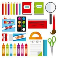 itens de material escolar vetor