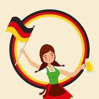 menina segurando cerveja e bandeira da alemanha vetor