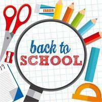 volta às aulas design com tesouras, lápis e réguas vetor